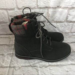LL Bean Leather Lace Up Plaid Boots